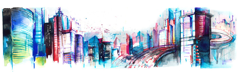 Poster Peintures panorama of city