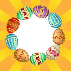 Greeting Easter card with decorative eggs arranged in a circle