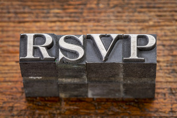 rsvp acronym in metal type