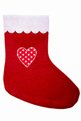 Christmas stocking with heart isolated on white background