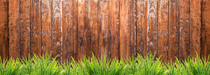 Banner with wooden fence and grass, panorama
