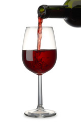 Pouring Red Wine with clipping path
