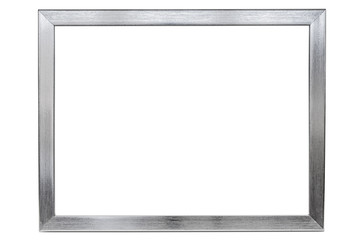 Aluminum empty photo frame on white background