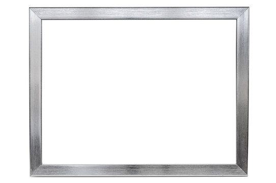 Aluminum empty photo frame on white background