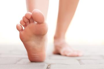 Feet walking outside