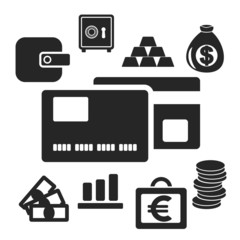Set of business and money vector logo icons