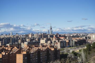 Metropolis, Madrid skyline, views from Tio Pio Park