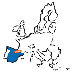 Vector drawn european union borders Spain and Madrid