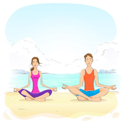 couple sitting in yoga lotus position man and woman closed eyes