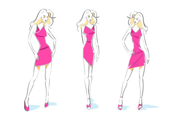fashion woman sketch pink dress design set vector
