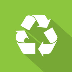 recycle symbol logo flat icon with shadow white on green