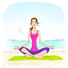 woman sitting in yoga lotus position closed eyes relaxing doing
