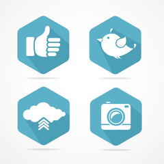 Vector social icons set. Flat Design
