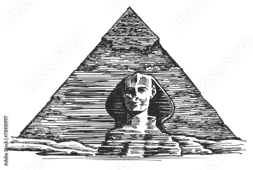 Egypt Vector Logo Design Template Egyptian Pyramid Or Sphinx Stock
