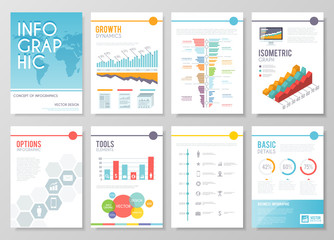 Set of colourful infographic vector  business brochures. Modern