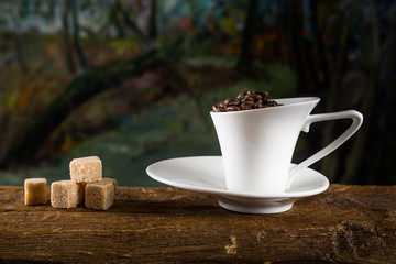 coffee cup and cane sugar