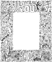 Vector sketch frame background with love story elements