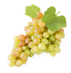 Grapes branch with leaves isolated on white