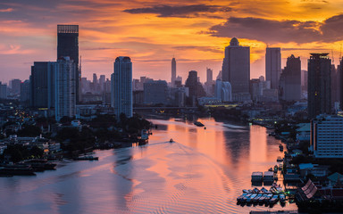 Bangkok City at morning time and the river,Hotel and resident