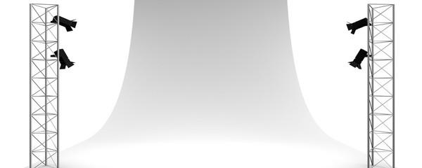 Lege opname studio met wit doek