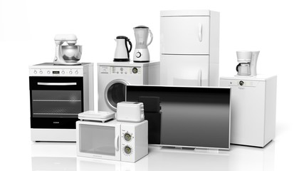 Group of home appliances isolated on white background.