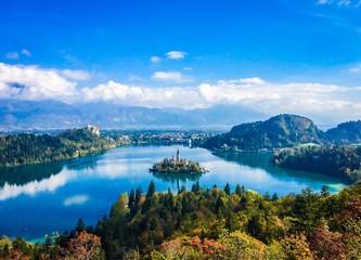 beautiful landscape of island, lake and mountains
