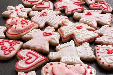 Gingerbread hearts and angels for st. Valentines Day