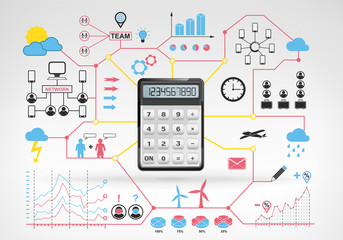 business calculations with blue red infographic icons