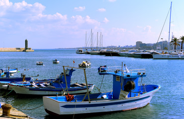 The little port with the tipical apulian fishing boats. Bari