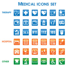 Medical icons set, vector set of 36 medical and medicine signs.