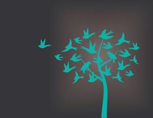 Tree made of swallow birds