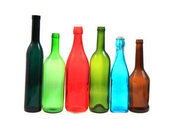 empty color glass bottles