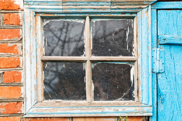 shabby window in country shed