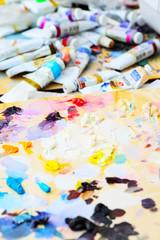 art paint palette with paints