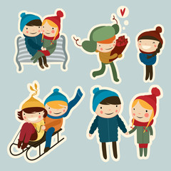 cute flat couples on date winter stickers