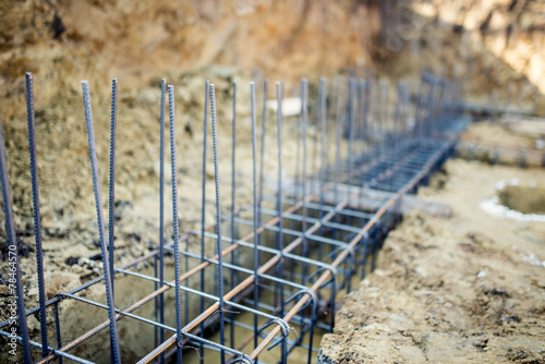 Foundation site of building reinforcement steel bars and for Bar maison torino