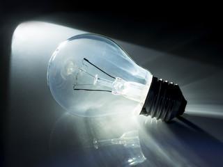 incandescent light bulb in black