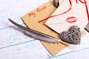 Love letters on wooden background