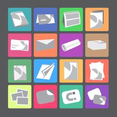 Printing house web flat icons set