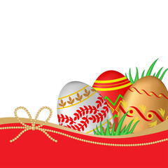 Greeting Easter card with decorative eggs and grass