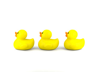 Yellow rubber ducklings isolated