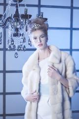 Winter Queen, beautiful girl in winter.