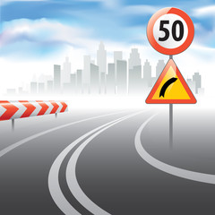 The road with speed speed limit sign