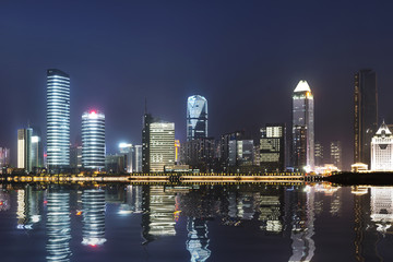 the modern building in shanghai china.