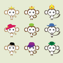 The illustration  character of monkeys in many action.