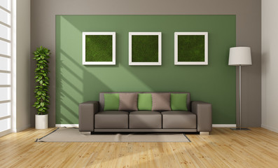 Living room with vertical grass in frame