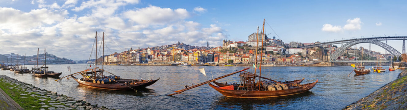 The Rabelo Boats and the Dom Luis I Bridge. Porto, Portugal