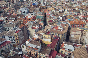 Aerial view of Valencia historical part
