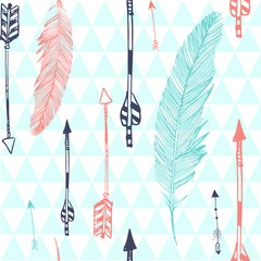 Seamless pattern with feather and arrows