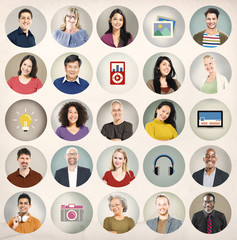 Ethnicity Group of People Multimedia Ideas Technology Concept